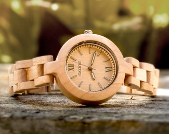 Gifts for her: Ladies' Analog Wood Watch-Beige Dial,wood watch,gift ideas,accessories for women,wooden watches,handcrafted,ladies watch