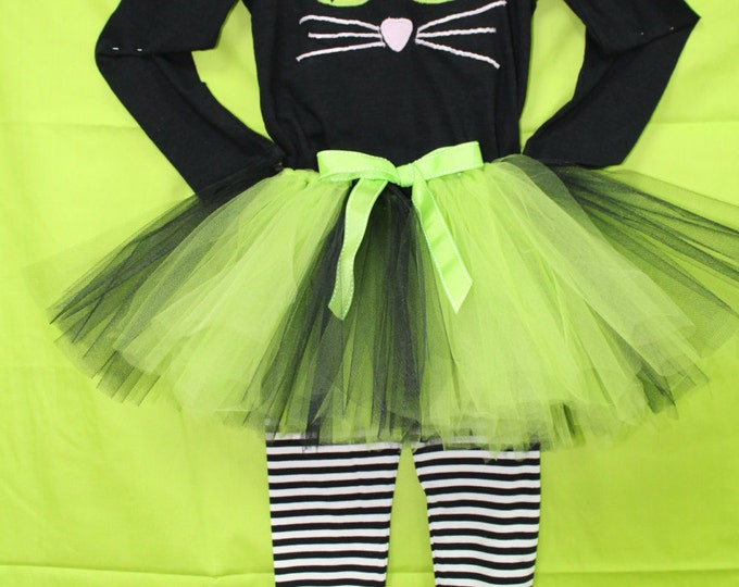 Girls Black Cat Halloween costume,Lime green Halloween Tutu, Halloween Black and White leggings,Black cat shirt,3 piece outfit for Halloween
