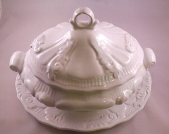 SALE Safaril Made in Portugal White Ironstone Soup Tureen and Serving Platter