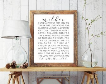 Mom gifts, Mom wall art, Mom Prayer, Mom Poems, Mom prints, mom quote, Mother's day, gifts for mom