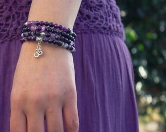 Purple Striped Agate Gemstone Crystal 4 Coil Beaded Bracelet / Om Charm / Memory Wire / Yoga