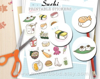 Sushi Printable Sticker, Daily Lifestyle, Cute Japanese Food Doodle, Hiragana, Kawaii Ramen Tako Salmon, Scrapbooking Planner Diary Journal
