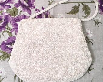 Vintage White Beaded Bridal Handbag