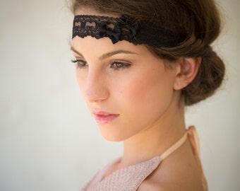 Black Lace headband/Choker two bows