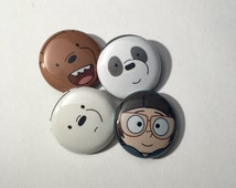 We Bare Bears Pins 4 Buttons (Grizzly, Panda, Ice Bear, Chloe Park)