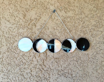 Stained Glass Phases of the Moon Suncatcher