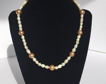 Bronze and Pearl Necklace - Pearl Necklace