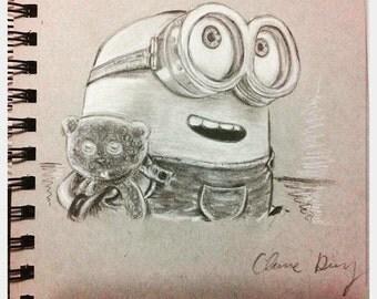 Bob Minion Charcoal Sketch