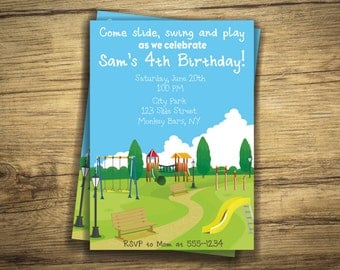 Playground Birthday Party Invitation - Park, Slide, Swings, Monkey Bars Invite - First Birthday, Boy, Girl Digital File, Printable