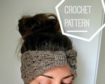 Crochet Ear Warmer Pattern, Crochet Knot Headband Pattern, Boho Crochet Headband Pattern, PDF pattern download only, Crocheted Ear Warmer