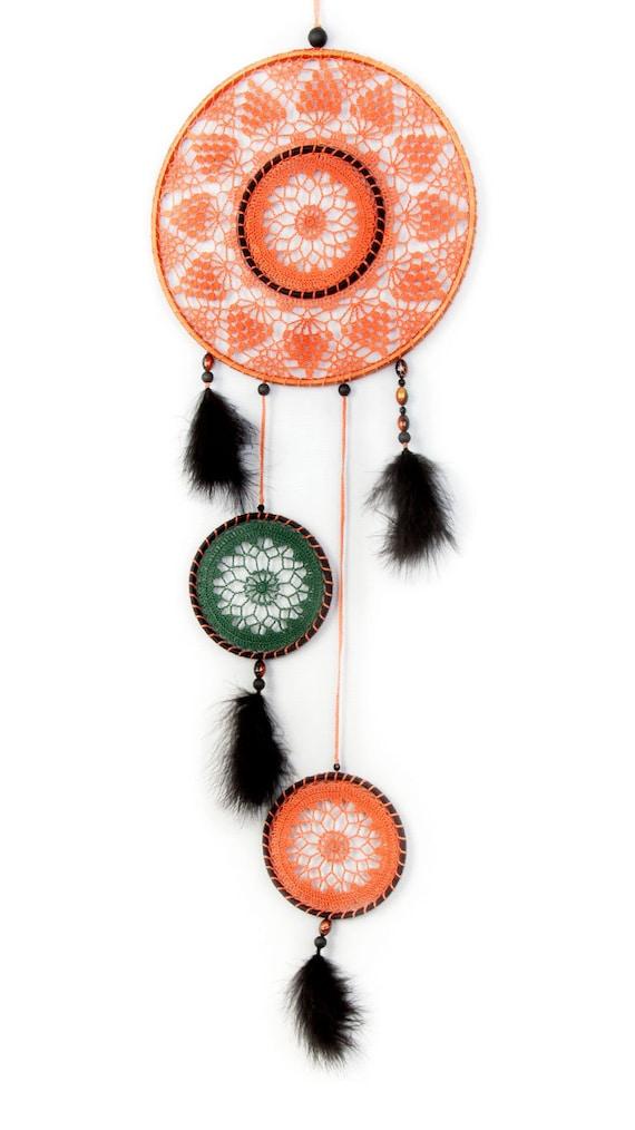 Large Orange Black Dream Catcher, Crochet Doily Dreamcatcher, Halloween decorations, boho dreamcatchers, wall hanging, wall decor, handmade