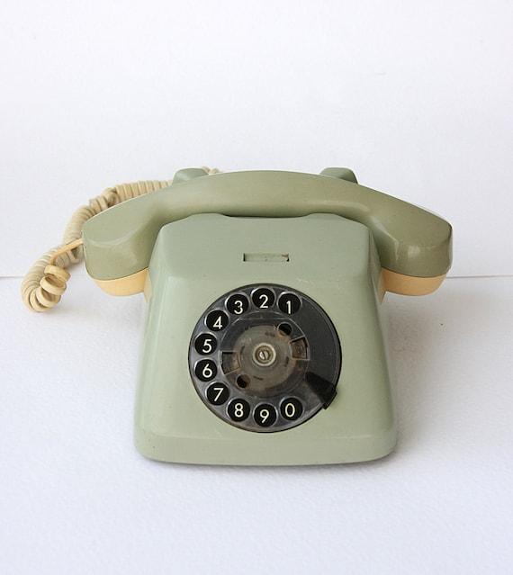 Vintage rotary phone 1960's German dial phone Sage green TT Mid century Old telephone Classic desk phone Retro home decor
