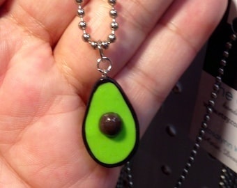 Avacado Necklace, Miniature food jewelry, polymer clay