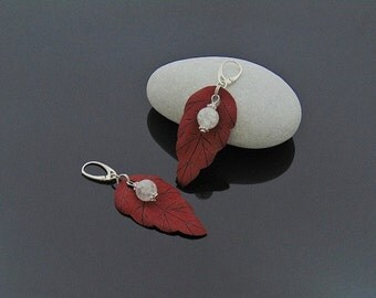 leather leaf earrings, leather earrings, leather jewelry, leather silver, leather crystal, crystal jewelry, leather handmade, maroon