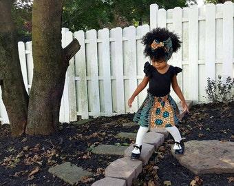 Girls Ankara Skirt, Blue Paper Bag Skirt, Girls African Skirt, Skirt Only, African Print Skirt, African Wax Fabric, Baby Skirt