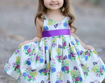 Purple Floral Spring Dress - Summer dress, Girl's dress, Hummingbird Dress, Blue headband, 100% Cotton dress