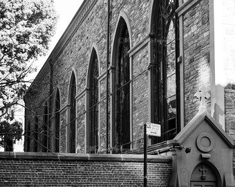 Godspeed. Bicycle Photography, Art Print, Home, Wall Decor, New York City, Black and White, City Streets, Church, Cyclist,