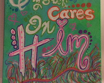 Cast All Your Cares on Him Painting 1 Peter 5:7