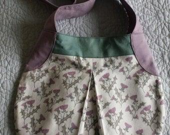 Handmade cute Thistle print fabric handbag with lilac strap, one of a kind