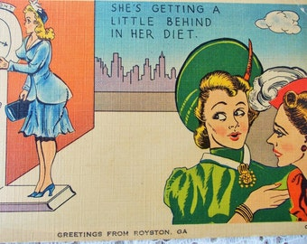 Vintage Humorous Color Postcard, 'A Little Behind in her Diet', Greetings from Royston GA, postally used in April 1961