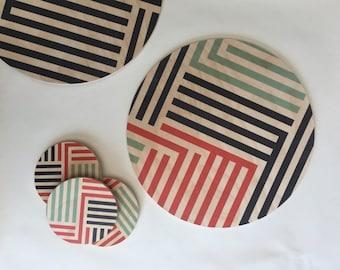 LINES scandinavian modern wood coasters/ geometric coasters/ memphis style/ art deco/ modern coasters