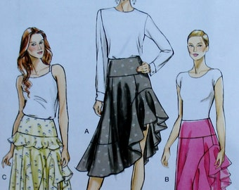 Vogue pattern, new, misses lined skirt with flounced front, back zipper, size 6, 8, 10, 12 14