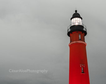 Lighthouse photography,instant download photography,lighthouse picture,black and red,grey and red photo,Ponce de Leon lighthouse,wall decor