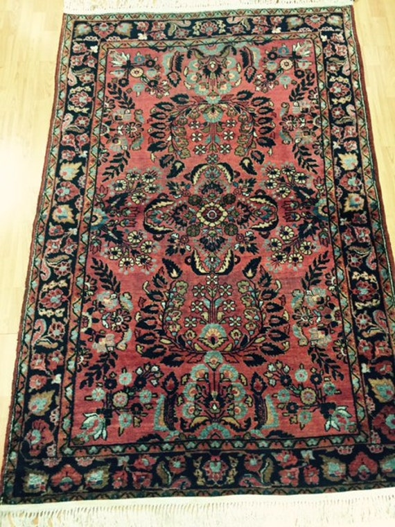 "4'4"" x 6'8"" Antique Persian Sarouk Oriental Rug - 1920s - Hand Made - 100% Wool - Vintage"