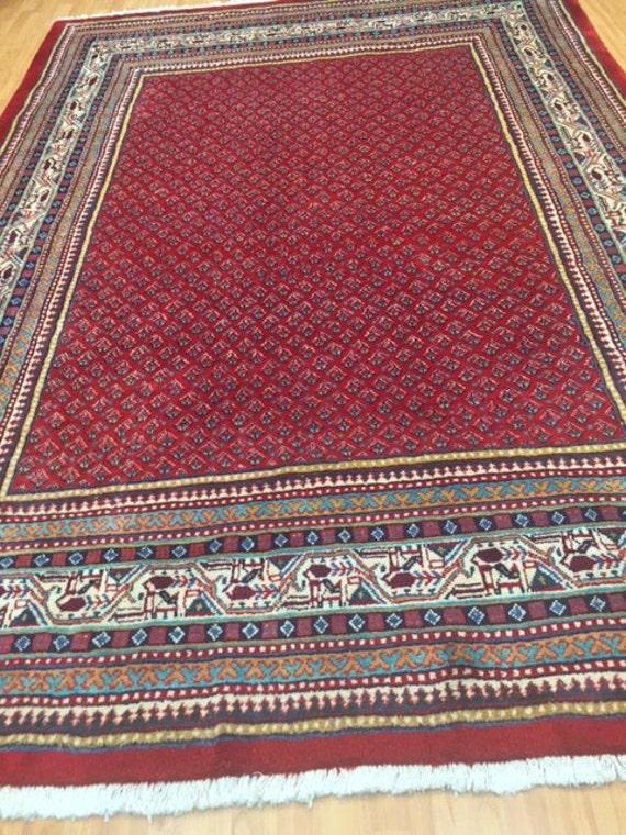 "7'2"" x 10'2"" Persian Sarouk Mir Oriental Rug - Hand Made - 100% Wool"