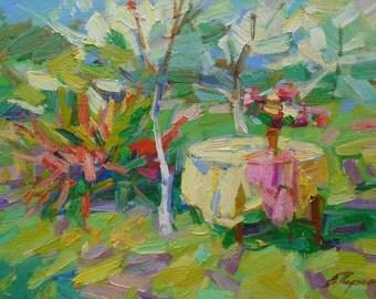 ORIGINAL STILL LIFE Original Oil Painting by a listed Ukrainian artist V. Pereta, Signed, Impressionist Art, Ukrainian Art, Garden Landscape