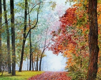 Fall Painting - Forest Print - Landscape Painting - Autumn Leaves - Matted Print