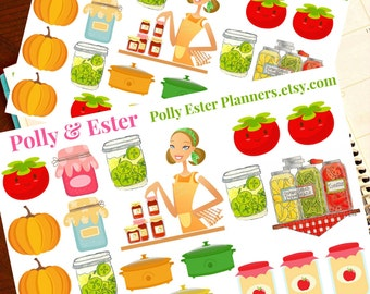 Jam, Jelly, Pickle Canning, Weekly Planner Stickers, Planner Sticker, Meal Planner, Erin Condren Planner Stickers, Food Sticker, EC Planner