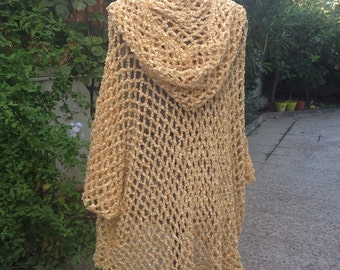 Golden hooded poncho