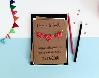 Engagement card - Personalised Engagement keepsake card - Brown kraft card