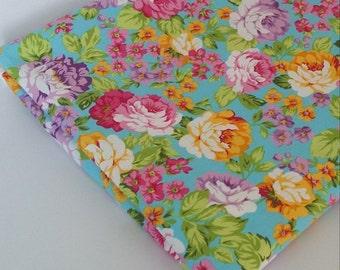 Colourful Roses Flowers Cotton Fabric