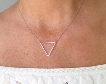 Triangle Necklace Silver Necklace Geometric Dainty Minimal Simple Layering Trendy Necklace Girlfriend Gift