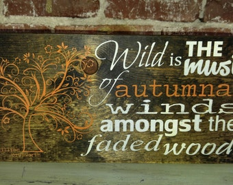 Wild Winds William Wordsworth Quote, Fall Poetry Wood Sign, Autumn Harvest Decorations, Rustic Fall Decorating Ideas, Falling Leaves Sign