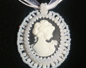 Bead embroidered cameo necklace