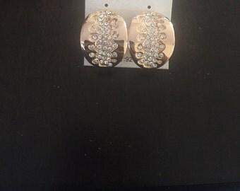 Earings, Rhinestone earings, Gold plated Rhinestone and crystal earings