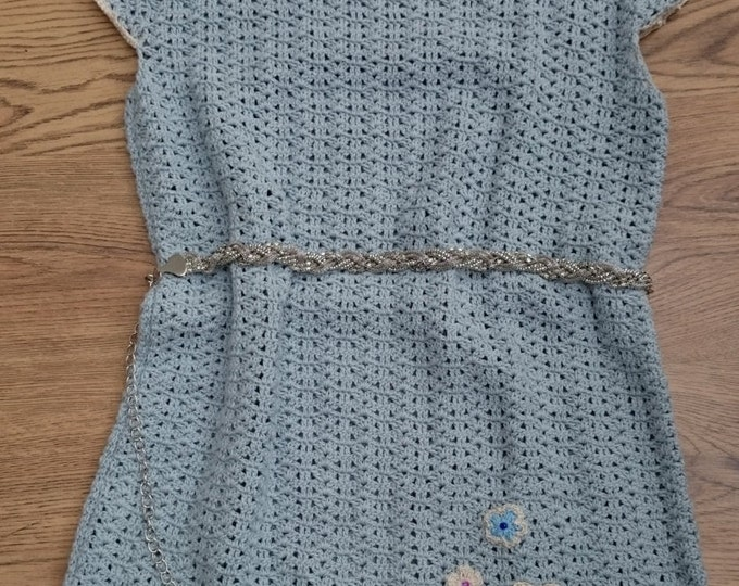Blue Crochet Tunic, Blue Cotton Tunic, Gift for her, Winter clothing ideas, Ready to Ship, Gift Idea, Christmas Gift, Gift for wife