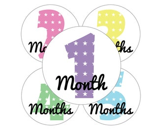 Onesie Stickers, Baby Girl Stickers, Month Onesie, Baby Girl Monthly Sticker, Baby Girl onesie Labels, Girl Month Sticker