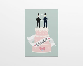 Congratulations! Wedding cake man & man in A6 format