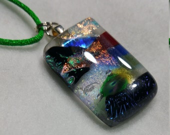 Handmade Fused Glass Dichroic Pendant