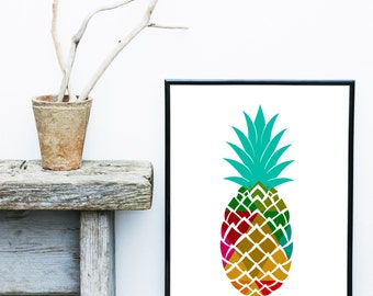 Pineapple Print, Pineapple Decor, Tropical Print, Giclee print, Wall Art,  Poster, Wall Decor, Home Decor