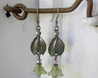 Handmade Flower and Leaf Earrings