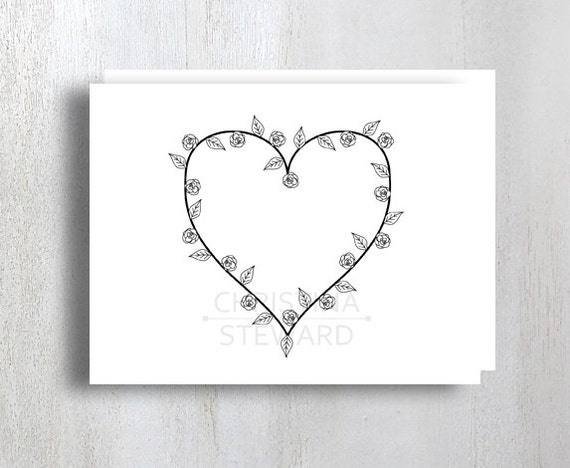 heart shaped writing template - printable greeting card with heart shaped by