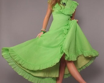 1970s Vintage Neon Lime Green Retro Victorian Gown Prairie Maxi Dress