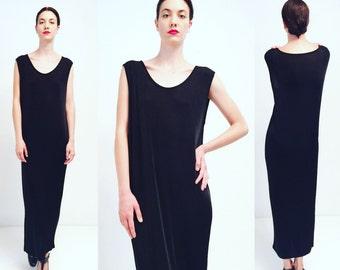Vtg 80s 90s Minimal Black Maxi Dress