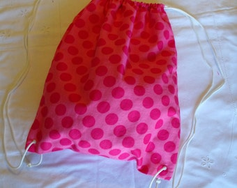 Pink Polka Dot Drawstring Bag