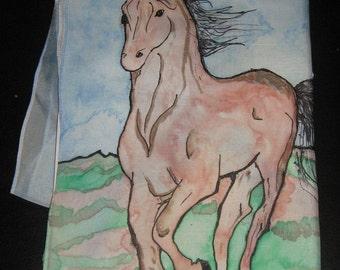 Hand painted running horse silk scarf